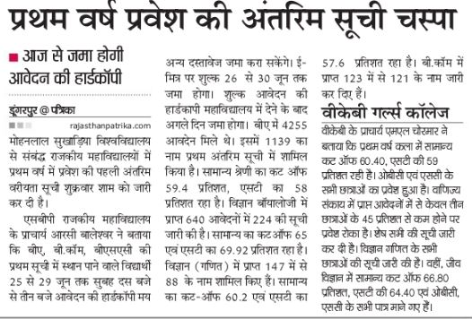 Govt College Dungarpur Cut off List