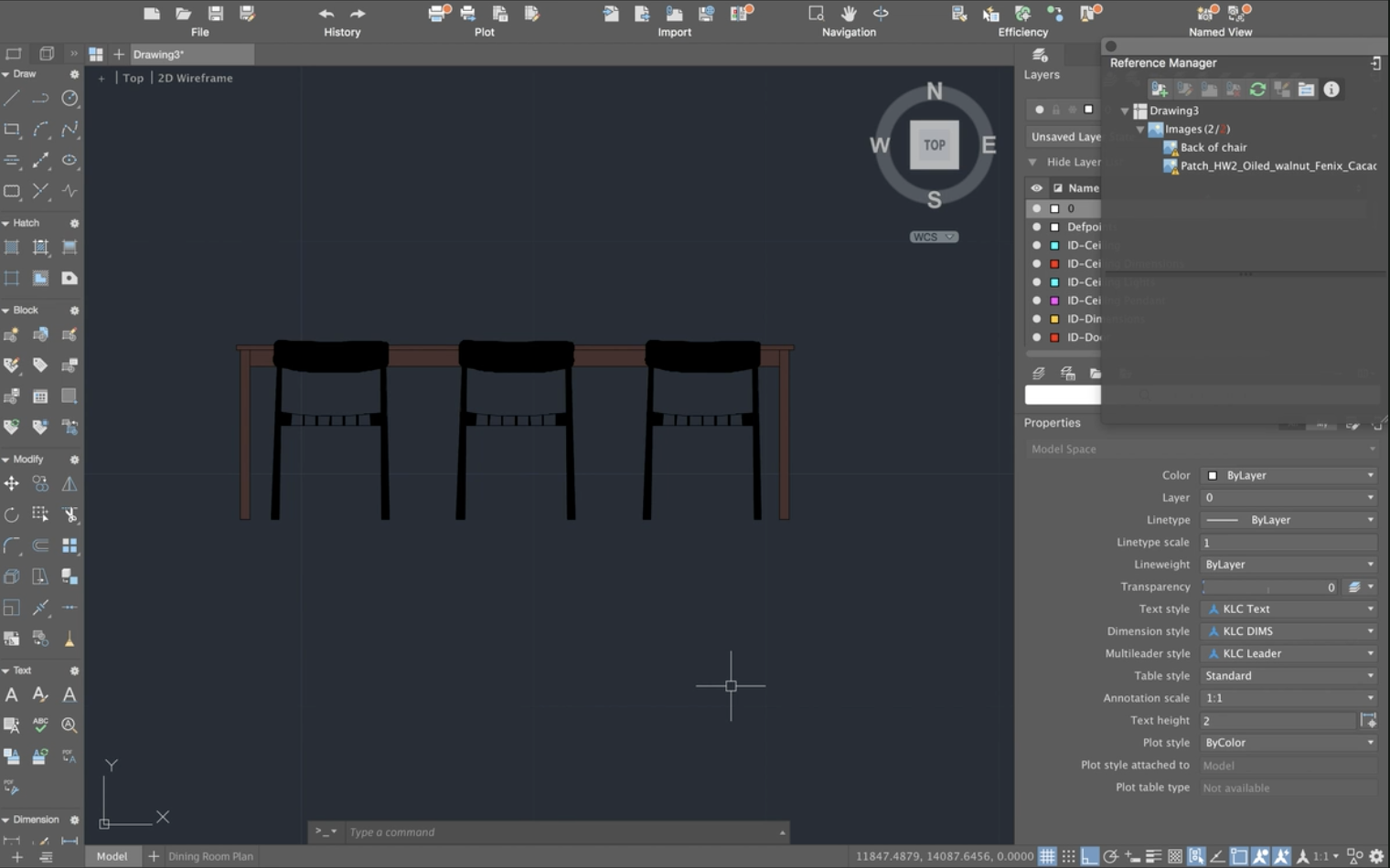 autocad table and chairs