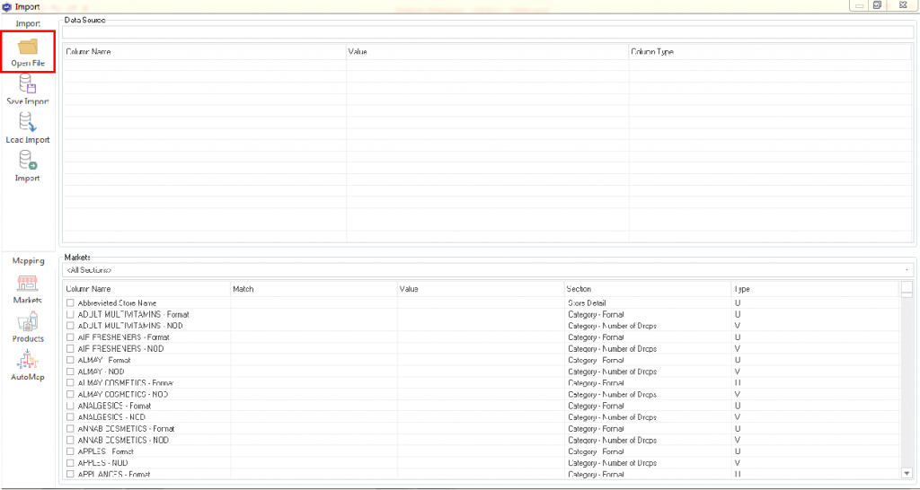 Open File to import CSV