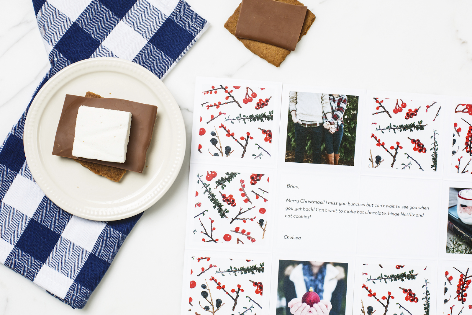 Holiday themed Greetabl gift with s'more.