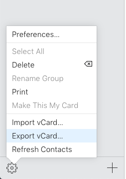 Selecting Option from the iCloud Menu to Export Contacts to Outlook