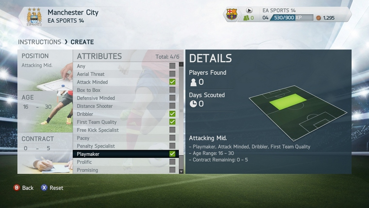 How to start a new career as player on Fifa 14