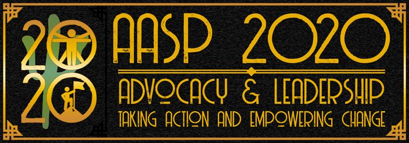AASP 2020 Conference Logo - Advocacy and Leadership, Taking Action and Empowering Change