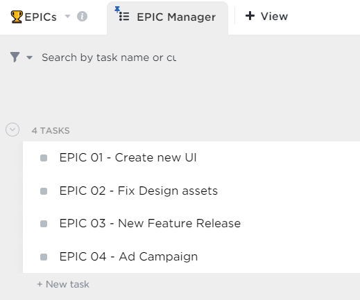 Creating Epics in ClickUp