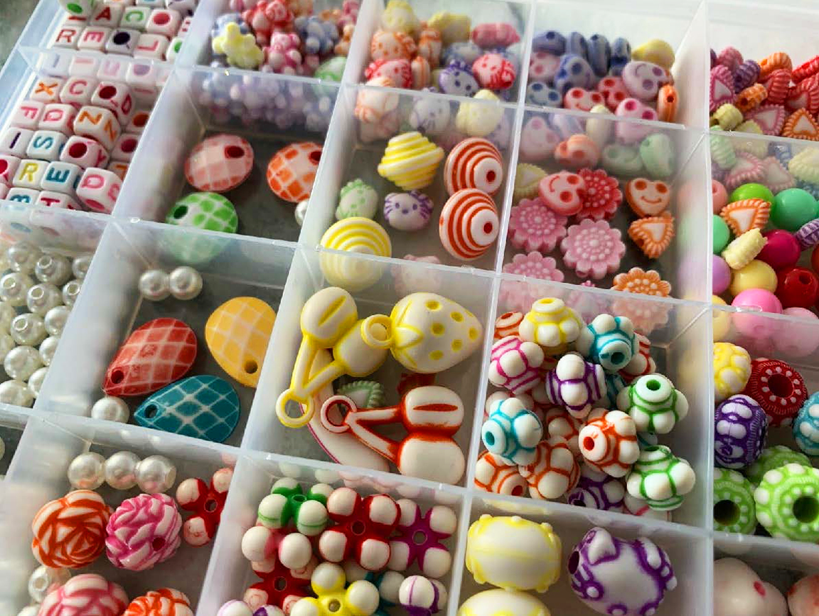 A collection of colorful beads in many sizes and shapes.