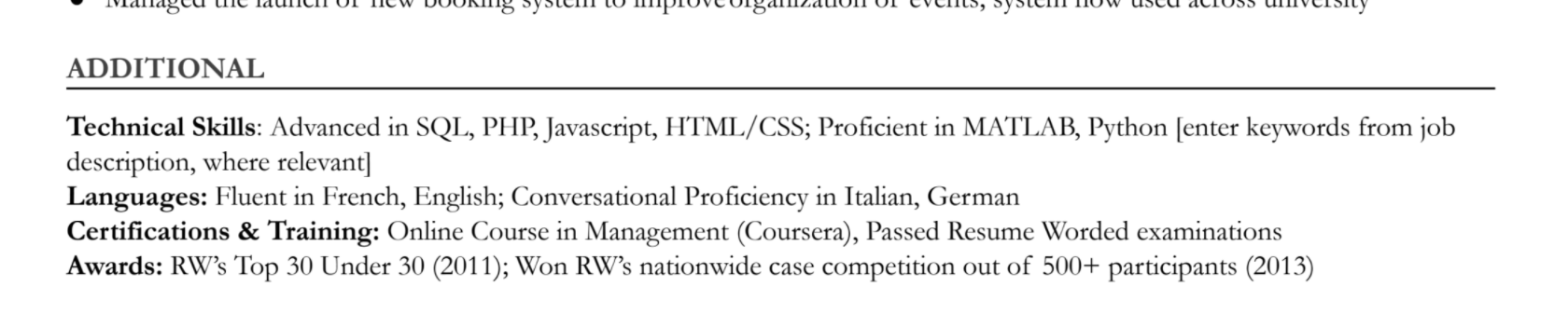 This resume lumps the candidate's technical skills, languages spoken, certificates, and awards into a single section
