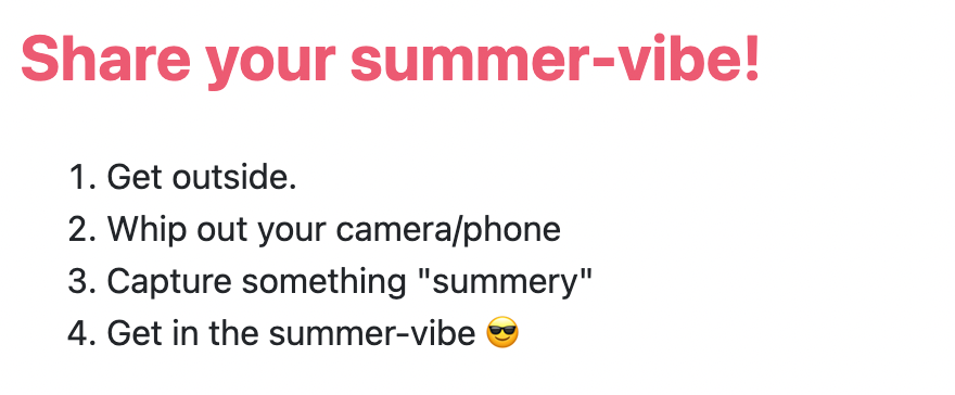 Activity prompt in Howspace: Share your summer-vibe