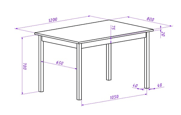 Примерный чертеж конструкции стола
