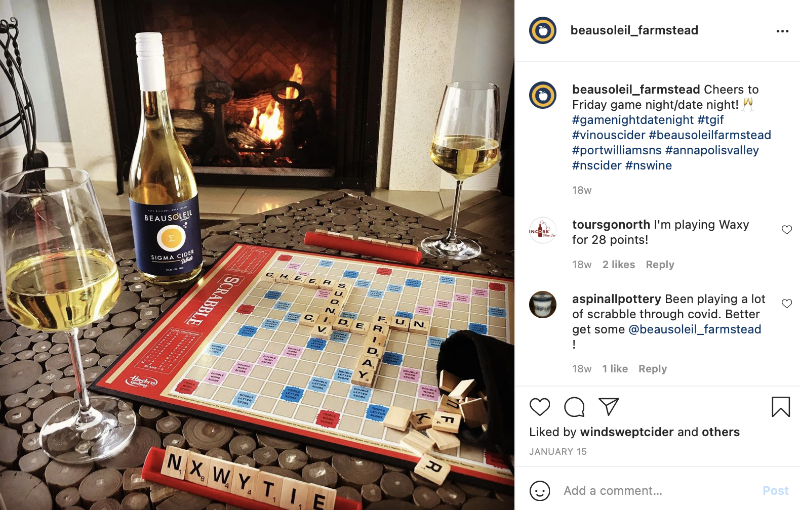 photo of scrabble and wine