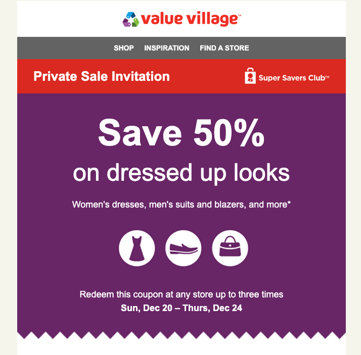an example email from value village showing how companies can use local activities and events to segment audiences