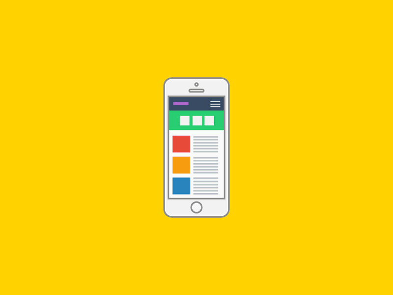 Graphic: Cell phone with a landing page