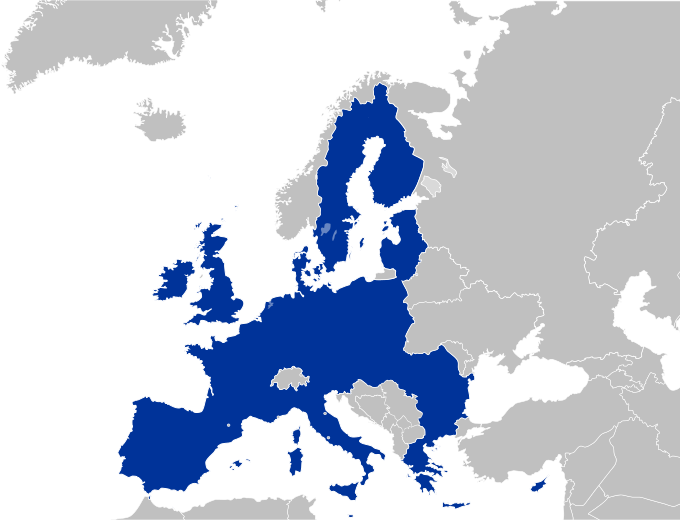 Map of the European Union, encompassing most of the states of Europe west of Russia.