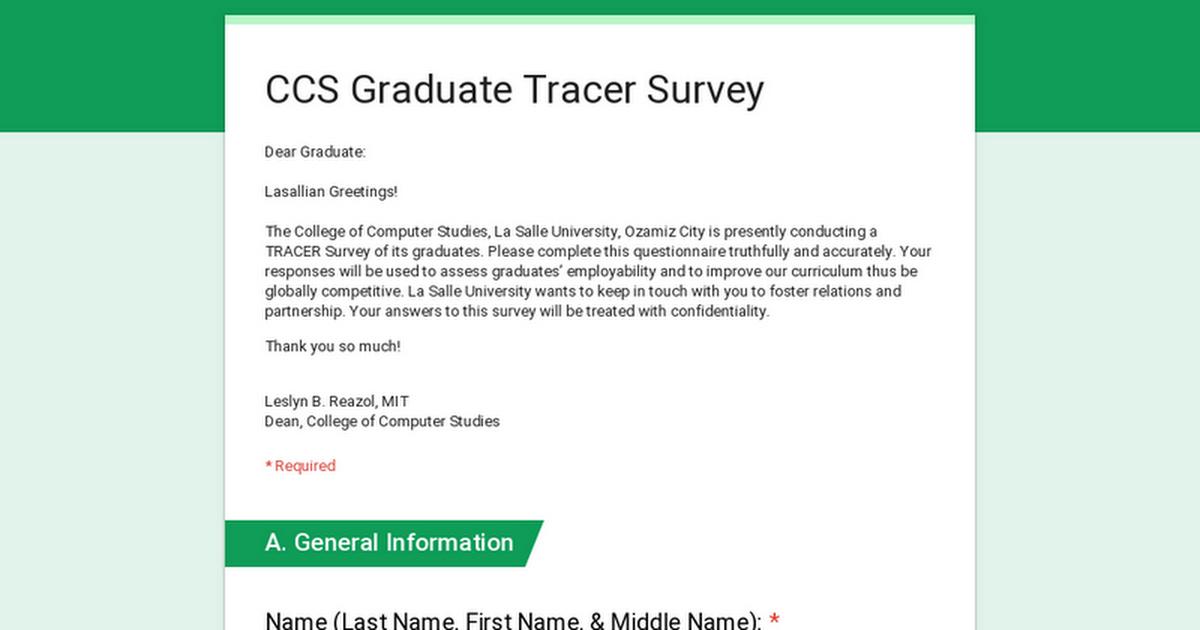 CCS Graduate Tracer Survey