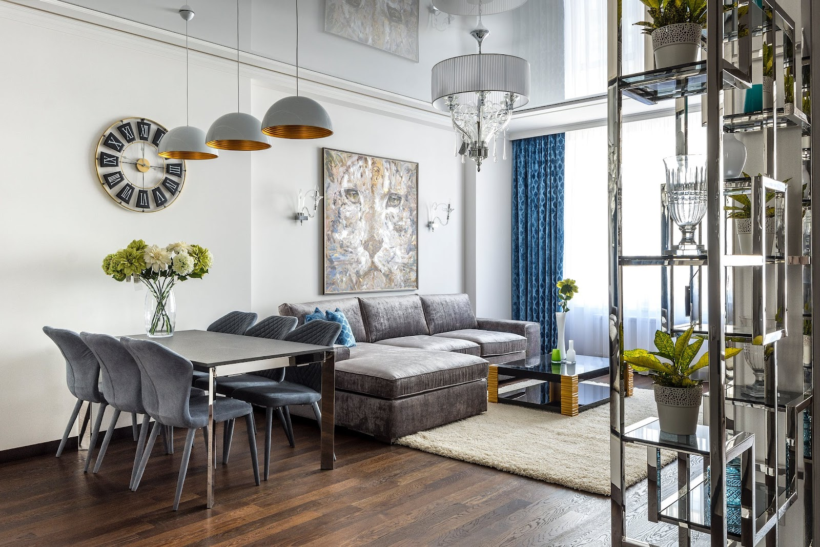 Chic condo with rug