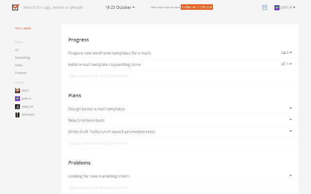 Weekdone Employee Status Reports Chrome Web Store – Employee Weekly Report