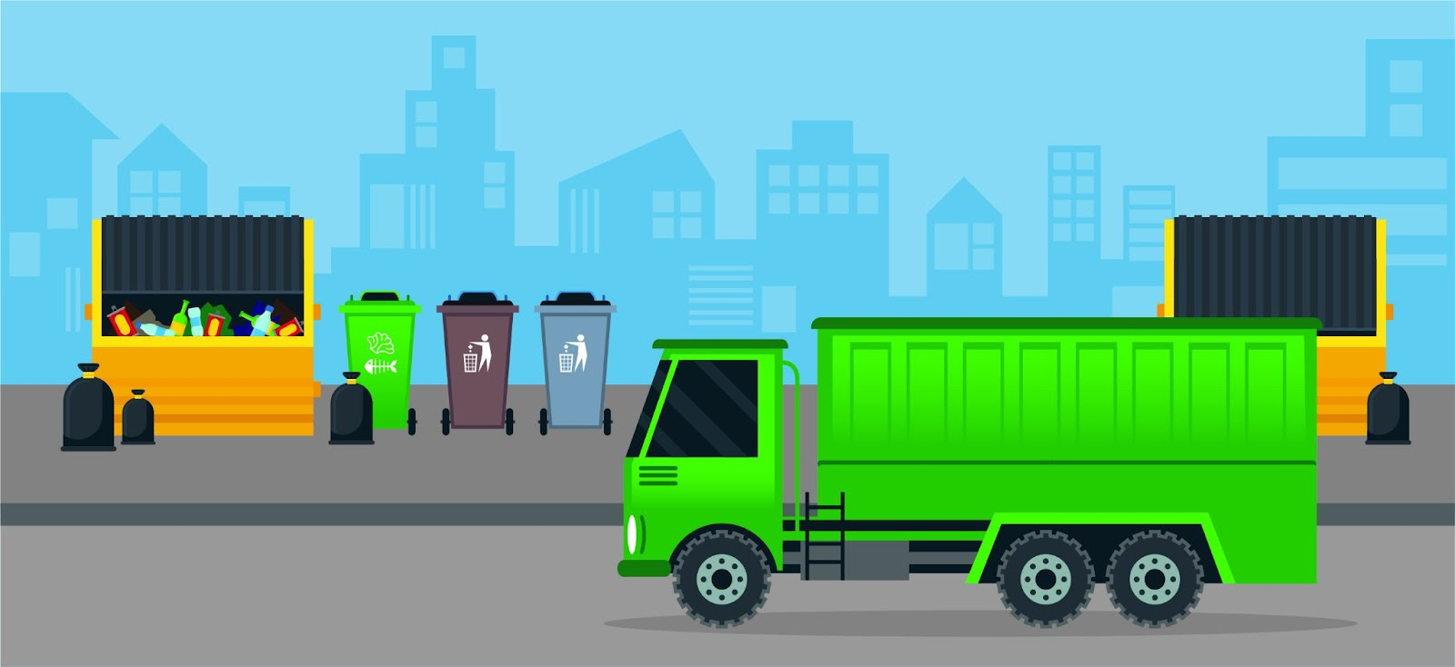 An illustration of a trash truck on a road in front of several dumpsters, trash cans, trash bins, and full trash bags.