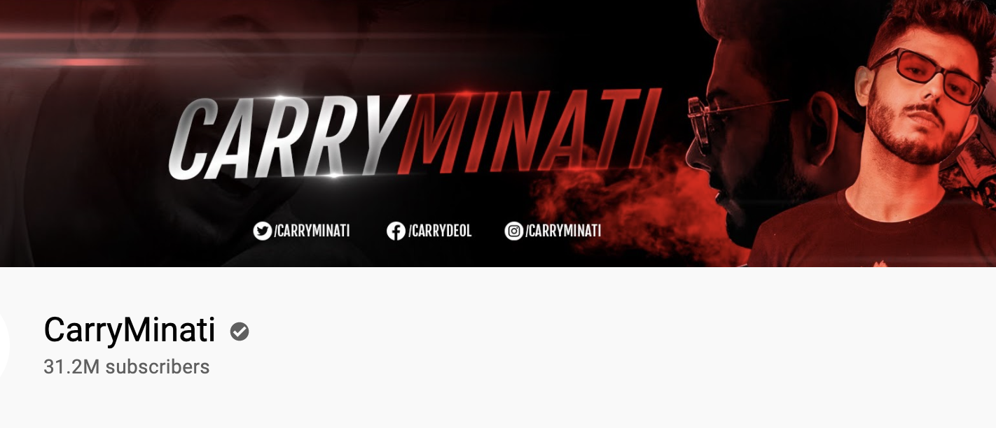 Carry Minati   Youtube banner   Online gamers featured on Afluencer