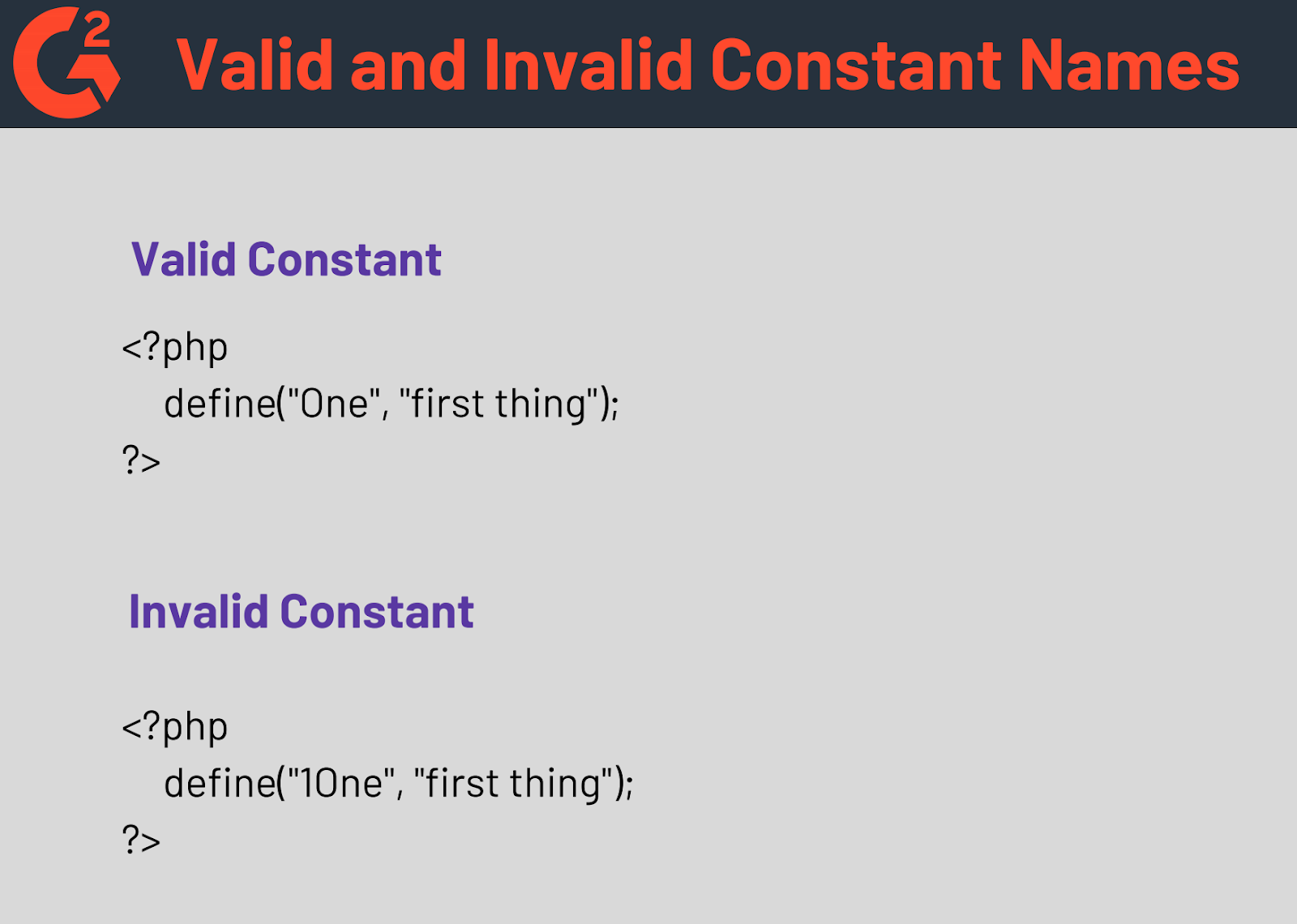 Valid and Invalid Constant Names in PHP