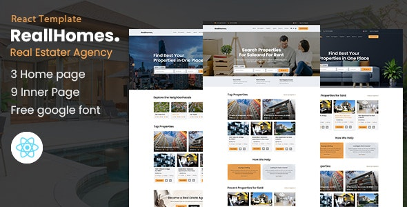 real estate react template