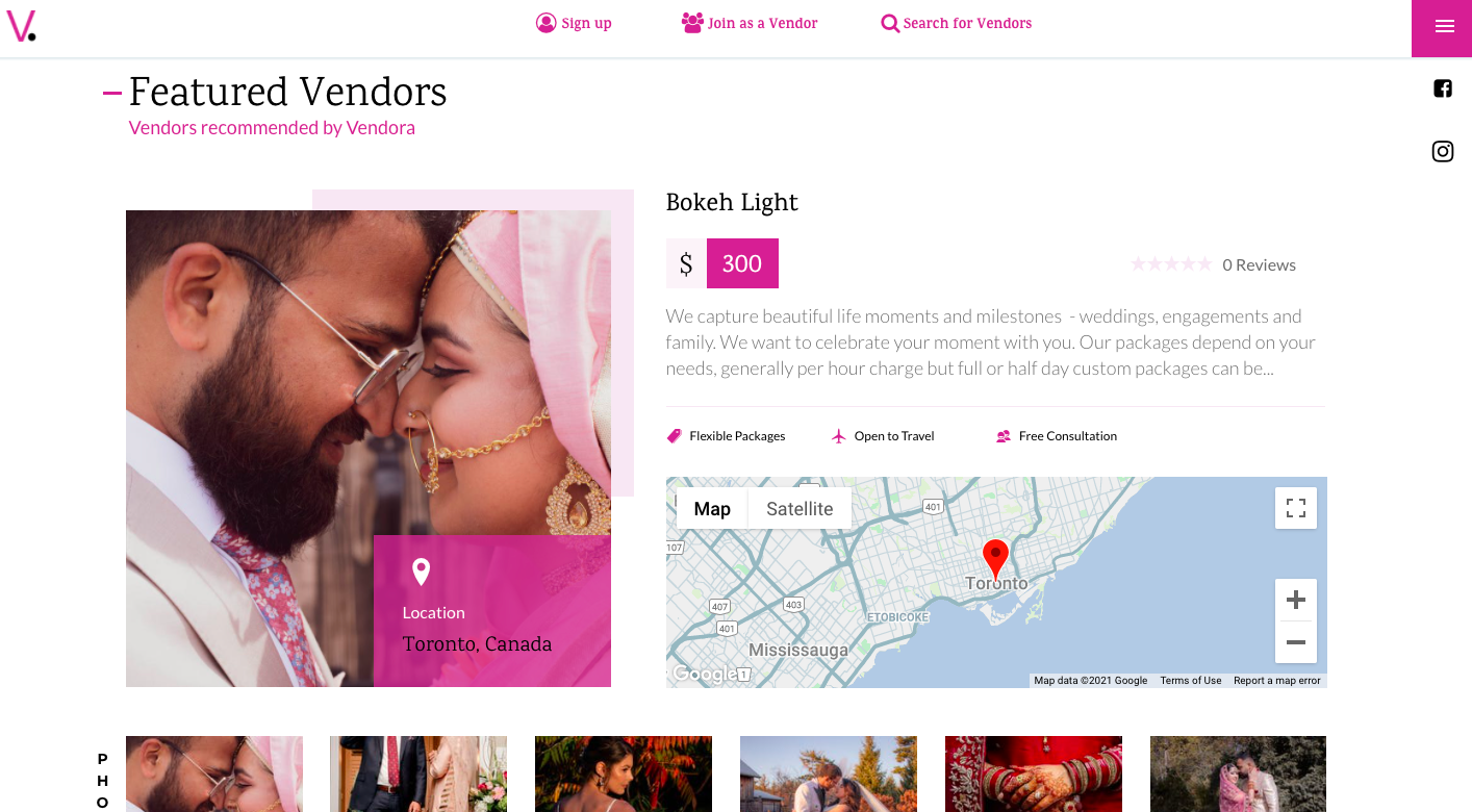Users can view featured vendors.