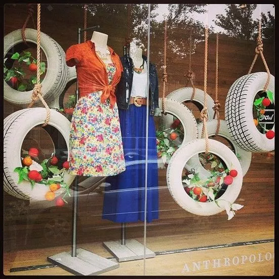 hanging tires DIY Retail Display Ideas