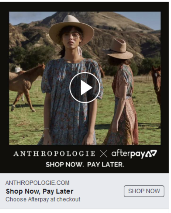 Anthropologie X Afterpay Facebook ad