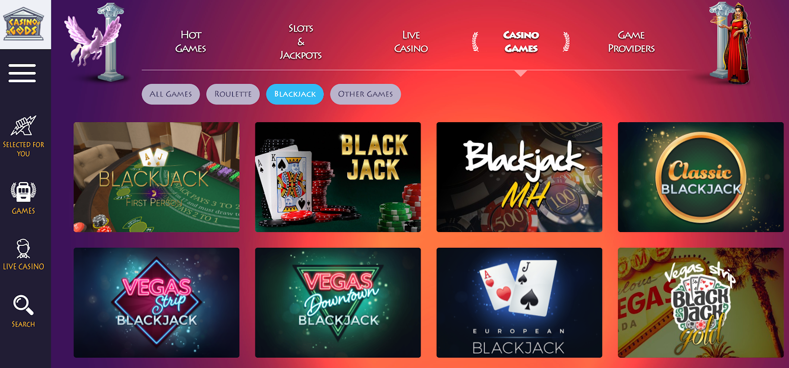 Casino Gods has loads of excellent blackjack games you can play