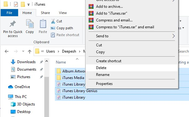 Delete Existing iTunes Library