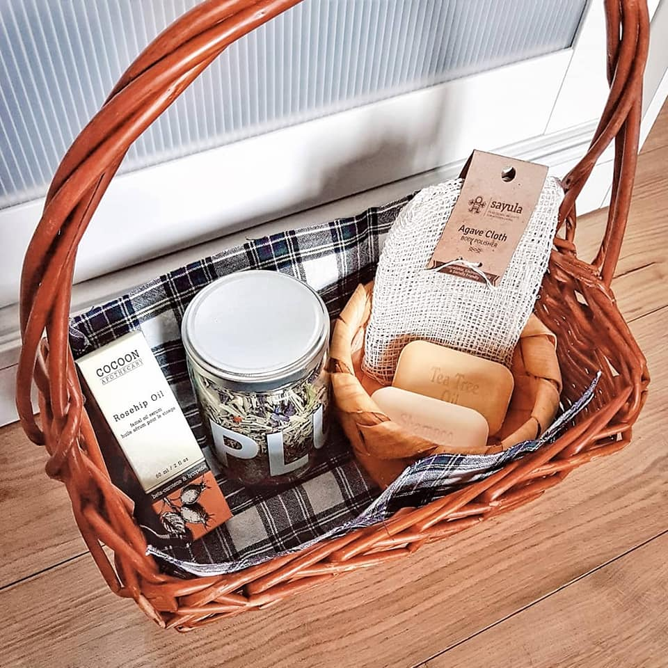 A photo of my online order in the basket I left out for them to leave the free local delivery in, so they could take back their paper bag & wrap