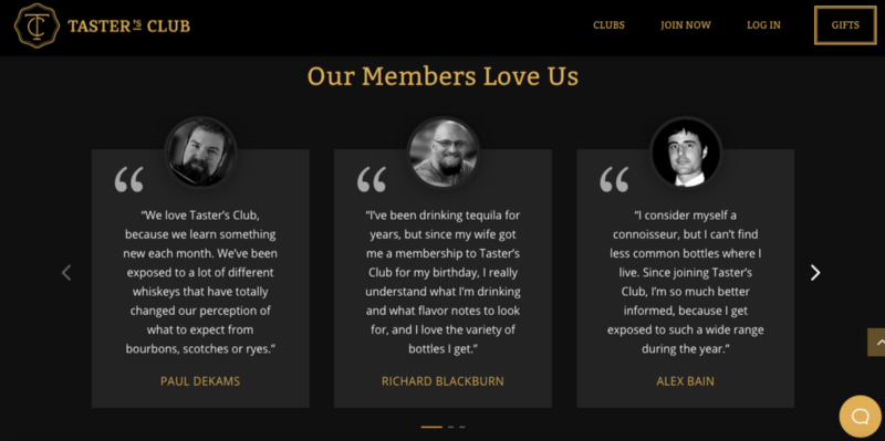A screenshot of customer testimonials on Taster' Club's landing page.