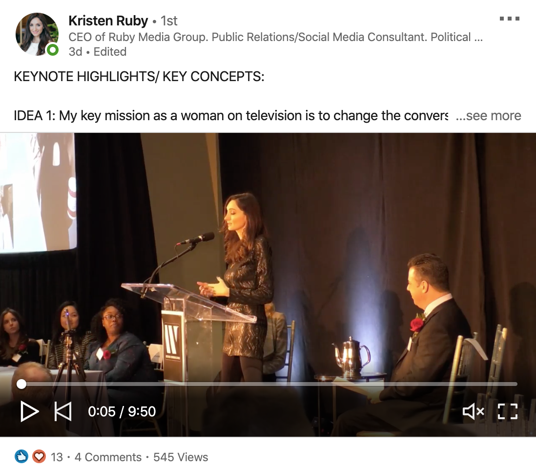 Kris Ruby post on LinkedIn about an event