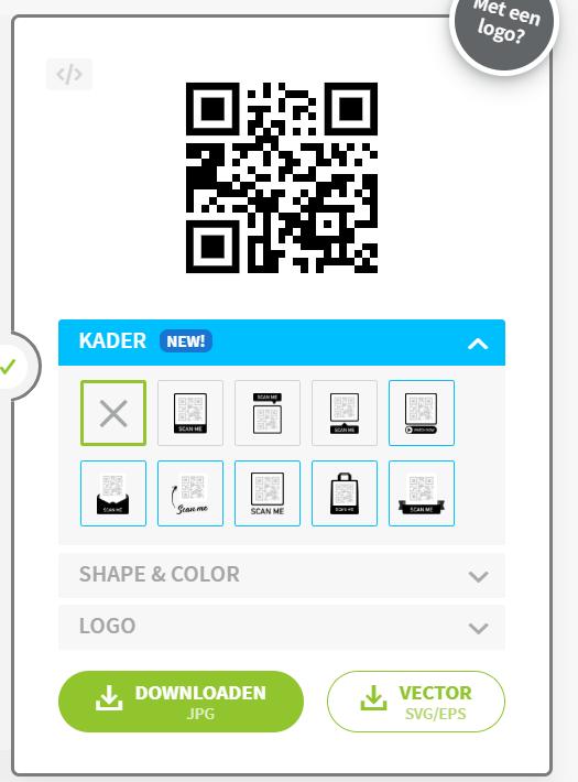 Logo instellen op qr-code