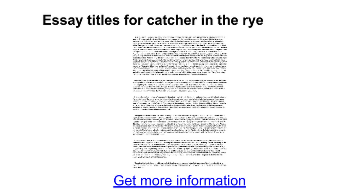 essay titles for catcher in the rye google docs