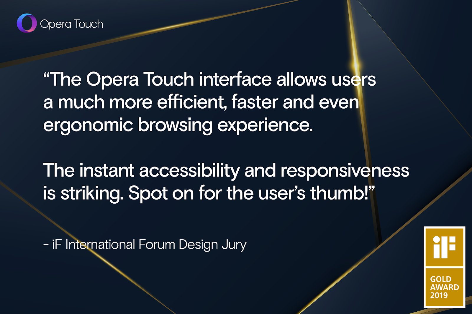 Opera Touch wins iF Design Award 2019 in Gold - Opera Newsroom