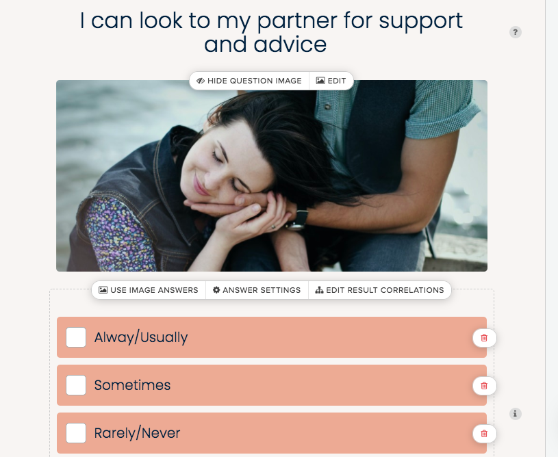 quiz question about looking to partner for support and advice and choices of always, sometimes, never