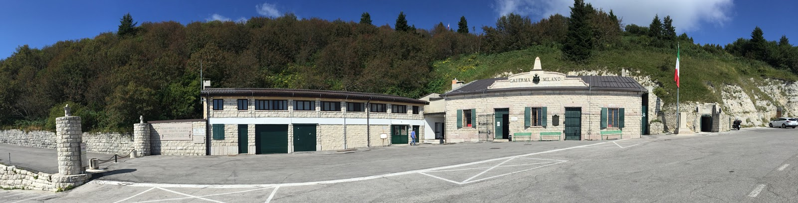 Riding bicycle Monte Grappa from Possagno  - WW I museum and parking lot