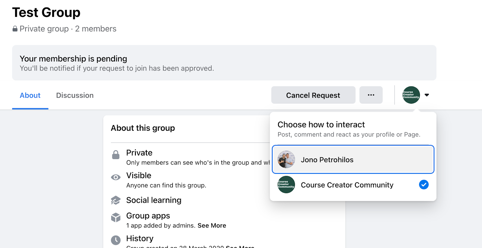 Step 1: Click your Pages display image and a drop-down menu will appear asking how you want to interact, select your Personal Profile