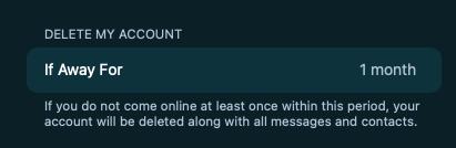открываем пункт Delete My Account If Away For  и подтверждаем удаление аккаунта