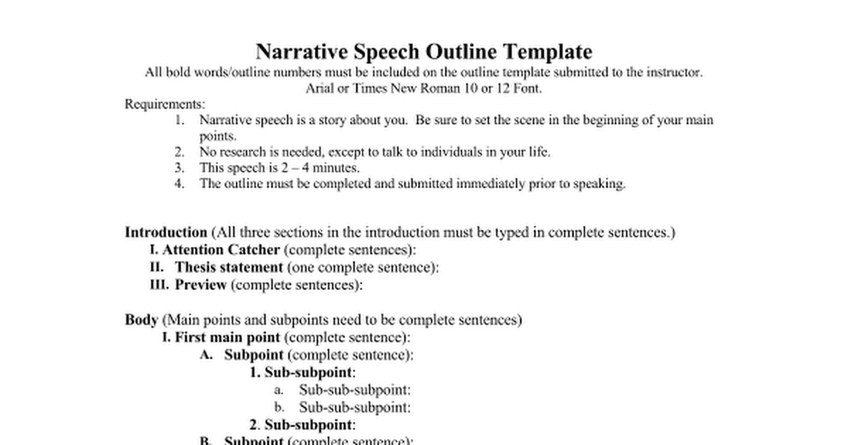 narrative speech outline template outline for speech informative speech outline overview