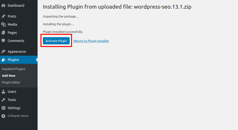 wordpress plugins activate installed plugin