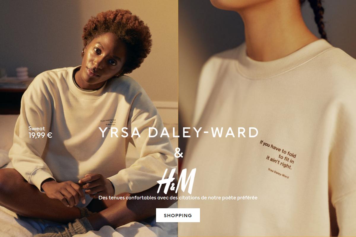 """Photographie publicitaire de H&M sur leur site web afin de mettre en avant une nouvelle collection """"Yrsa Daley Ward"""". Un visuel minimaliste illustre la collection. Des couleurs chaudes automnales ont été utilisées pour mettre en avant l'aspect chaleureuse de ces tenues confortables."""