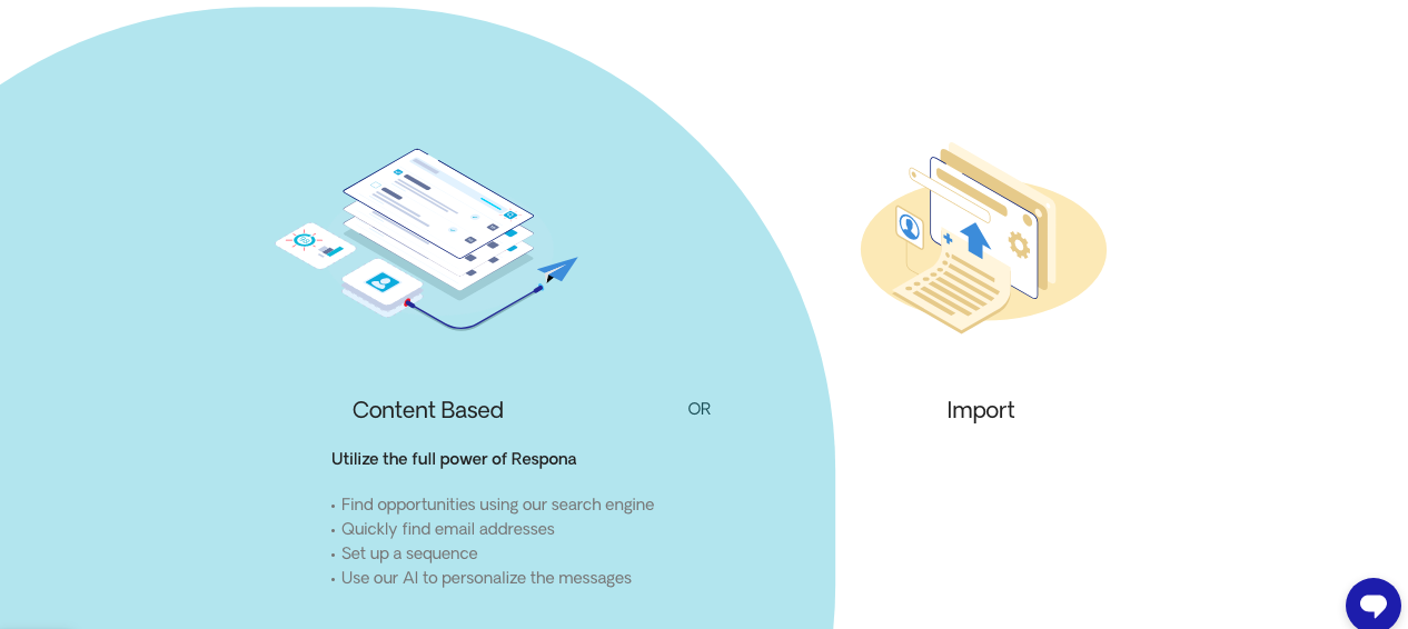 Choosing to create a content-based campaign in Respona