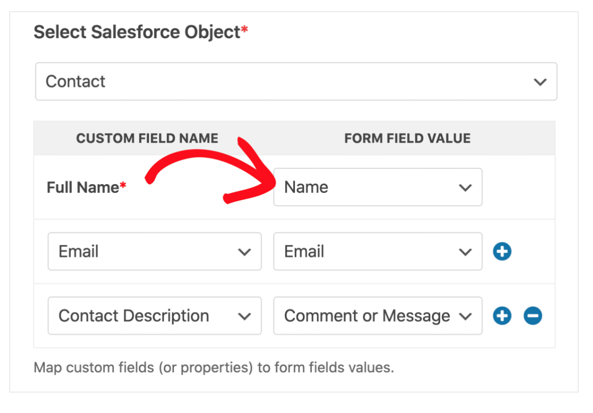 Map form fields Salesforce WPForms