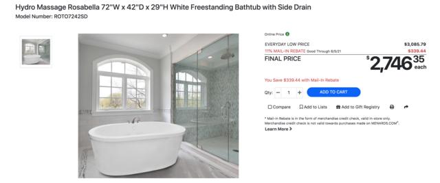 menards bath tub, free standing bath tub