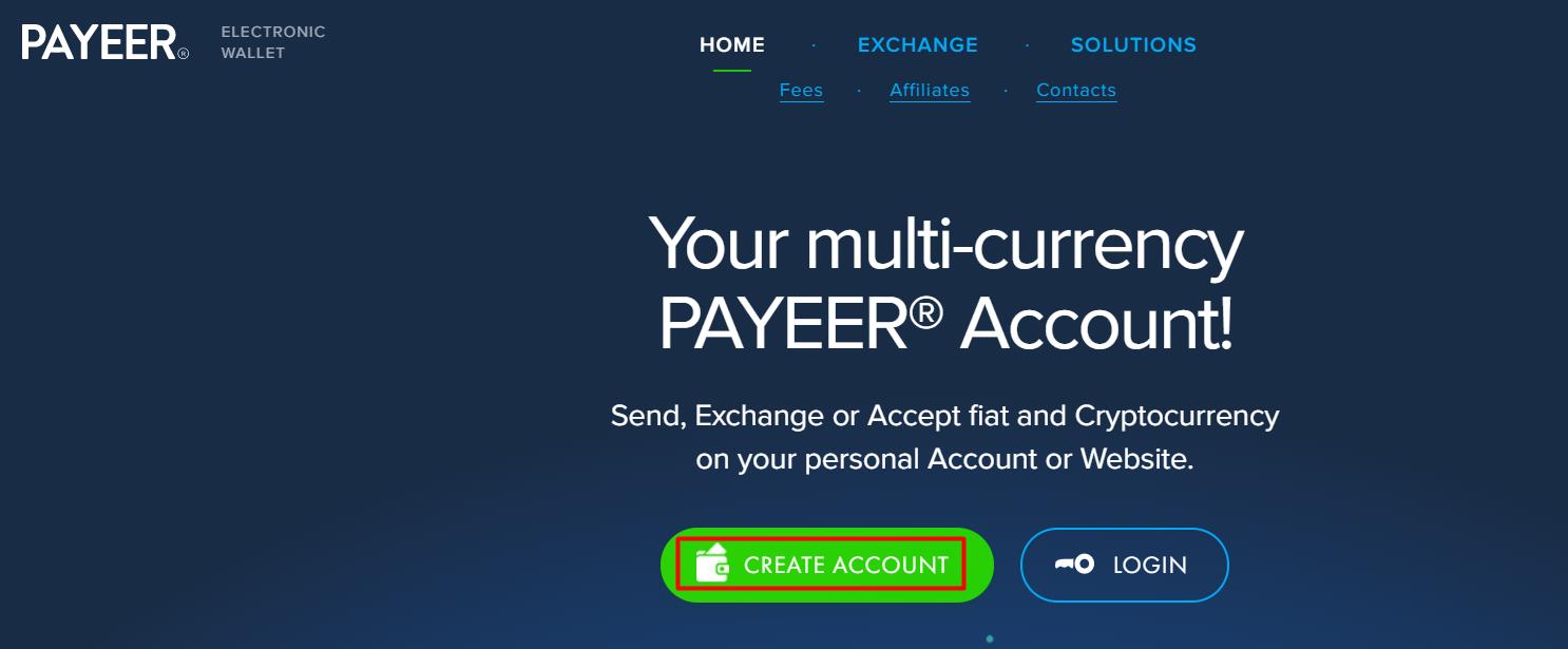 Truy cập vào trang web chính thức của Payeer