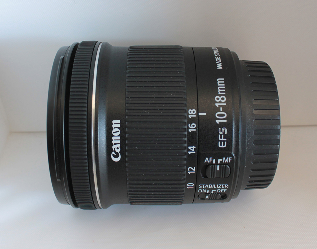 A Canon EF-S 10-18mm F4.5-5.6 IS STM lens.