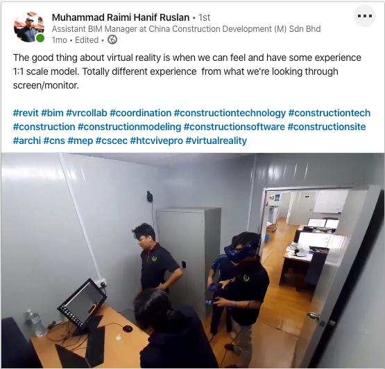 LinkedIn post by Muhammad Raimi Hanif Ruslan on his experience using VR in a coordination meeting