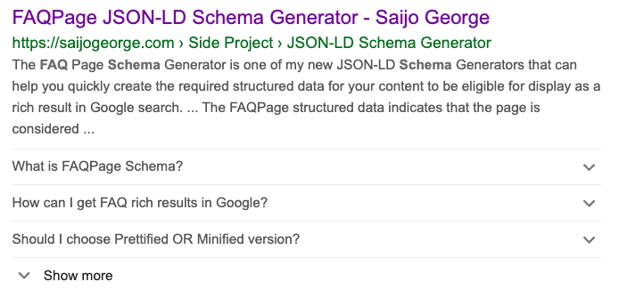 faq schema in search results