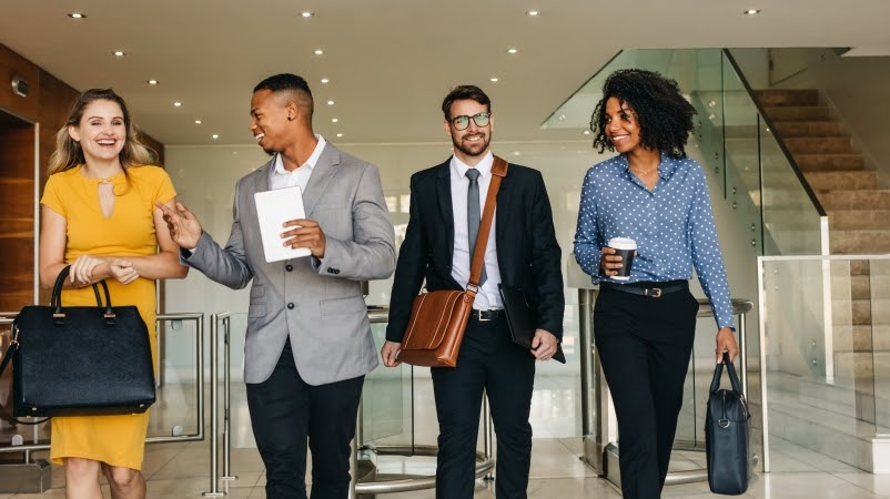 young professionals walking together