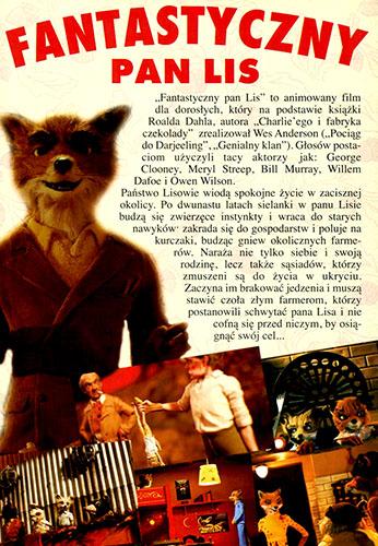 Tył ulotki filmu 'Fantastyczny Pan Lis'